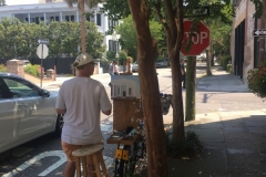 Plein Air painting on back of bike